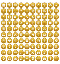 100 student icons set gold vector