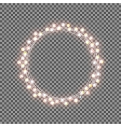 Shining garland with light bulb on transparent vector
