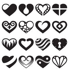 Heart icons and signs set vector