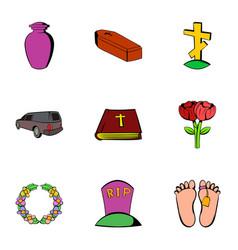 sadness icons set cartoon style vector image