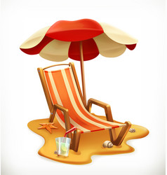 Beach umbrella and lounge chair 3d icon vector