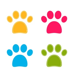 Cute colorful doggie paws isolated on white vector