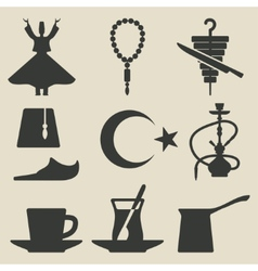 Turkish national icons set vector image