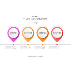 4 steps timeline infographic template vector image vector image
