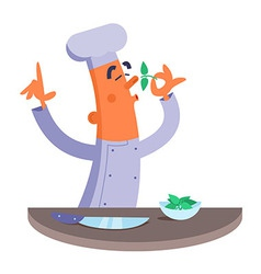 Cartoon chef smelling the fresh herbs vector