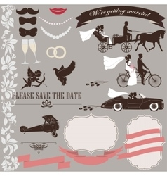 Wedding invitation elements set vector image