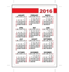 2016 pocket calendar template grid first day vector