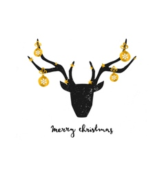 Black deer head gold foil baubles greeting card vector