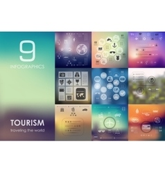 Tourism infographic with unfocused background vector