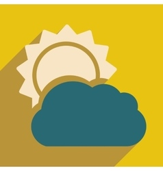 Flat with shadow icon and mobile application sun vector
