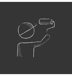 Man painting with roller drawn in chalk icon vector
