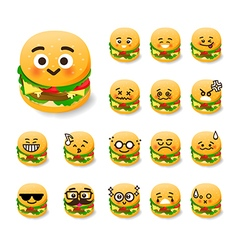 Collection of difference emoticon burger cartoon vector