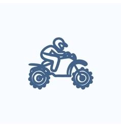 Man riding motocross bike sketch icon vector