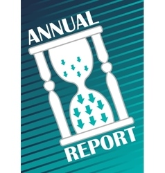 Annual report cover with hourglass with arrows on vector