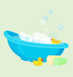 Bathtub for child full of bubbles and with duck vector