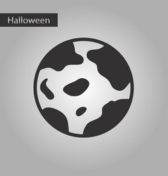 Black and white style icon halloween full moon vector