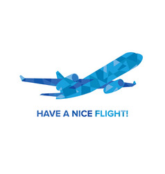 blue jet airplane with patterns isolated on white vector image vector image