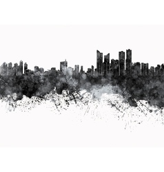 Busan skyline in black watercolor on white vector image vector image
