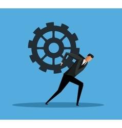 business man carrying gear progress vector image