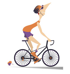 cartoon man rides a bike isolated vector image