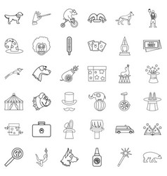 circus icons set outline style vector image vector image