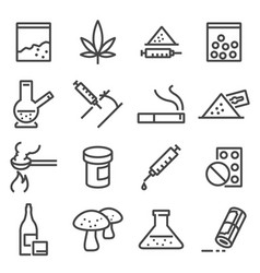 drugs line icons vector image