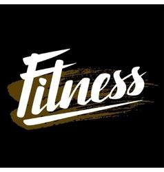 Fitness lettering poster concept Handwritten word vector image