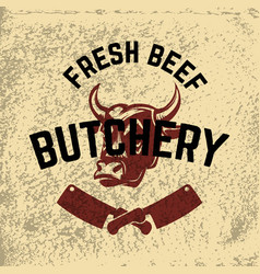 Fresh beef butchery hand drawn cow head on grunge vector