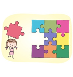 Girl solving puzzle vector image vector image
