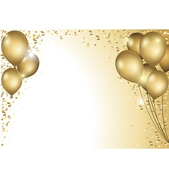 Gold balloons and falling confetti vector