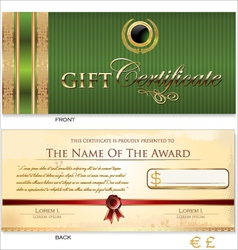 Green Gift certificate template vector image