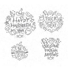 Halloween flat monograms vector