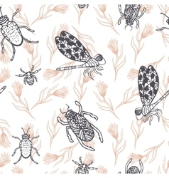 Hand drawn dragonfly ink doodle seamless pattern vector image vector image