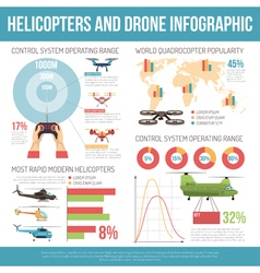 Helicopters and drone infographics vector