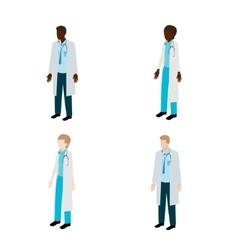 Isometric doctor character set vector