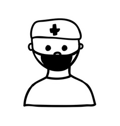 Monochrome silhouette half body doctor with mask vector