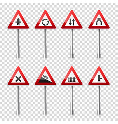 Road signs collection isolated on transparent vector