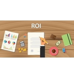 Roi return on investment concept with hand work vector