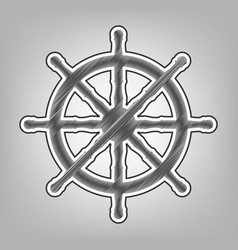 Ship wheel sign pencil sketch imitation vector