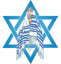 Star of david rabbi with talit vector
