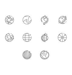 Thin line globe icon set vector