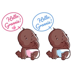 Two cute toddler Card for grandma Hello Grannie vector image
