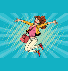 Young woman jumping lifestyle vector