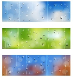 Drops on window glass seamless banners vector