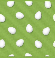 White easter eggs on grenery pinstripe background vector