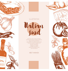 Italian food - color hand drawn composite banner vector