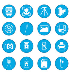 Photography set icon blue vector
