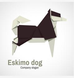 Husky dog logo origami vector