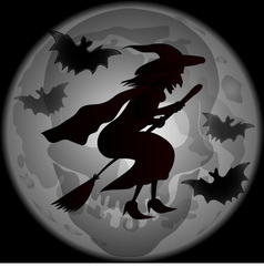 Halloween witch dark silhoette vector