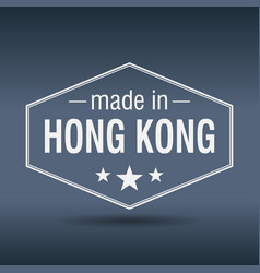Made in hong kong hexagonal white vintage label vector